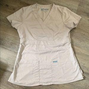 Tan greys anatomy scrub top women's size xs